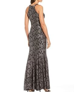 Glitter Lace Halter Scallop Keyhole Mermaid Gown